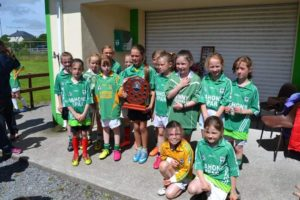 The victorious U10 girls with the Aoife Regan memorial sheild